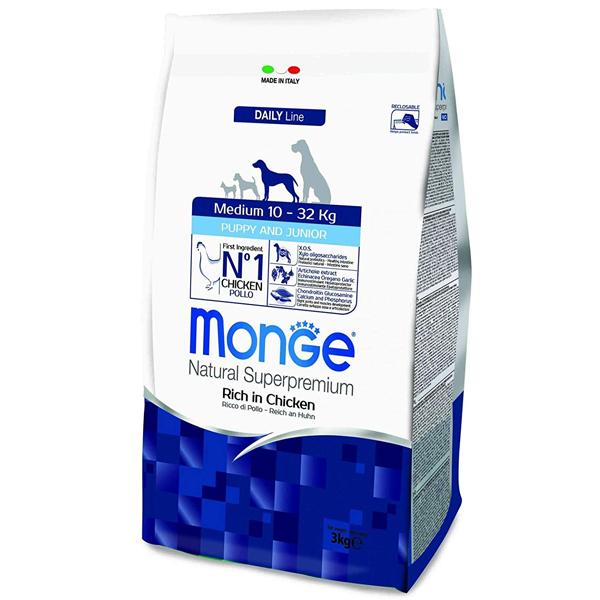 Сухой корм Monge Medium Puppy & Junior для щенков средних пород (с 2-х месяцев)