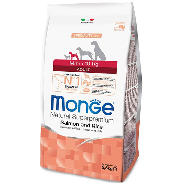 Сухой корм Monge Mini Adult Salmone с лососем и рисом для взрослых собак мелких пород