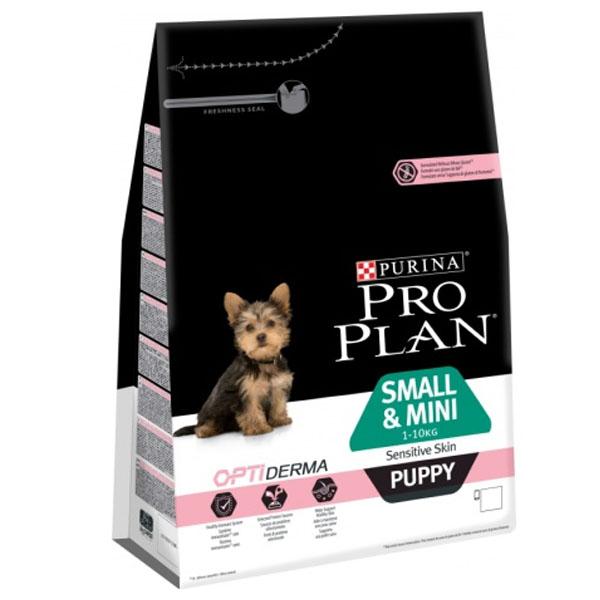 Сухой корм Pro Plan Puppy Small & Mini  Sensitive Skin для щенков мелких пород с чувствительной кожей с лососем 3 кг
