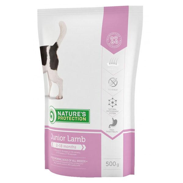 Сухой корм Nature's Protection Junior Lamb для щенков всех пород в возрасте от 2 до 18 месяцев 500 гр
