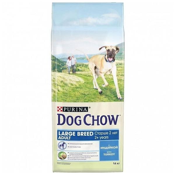 Сухой корм Dog chow Adult Large Breed для взрослых собак от 2 лет крупных пород с индейкой 14 кг