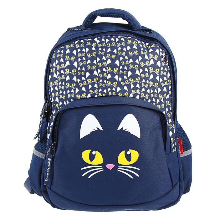 Рюкзак школьный Bruno Visconti, 40 х 30 х 16 см, эргономичная спинка, «Кошачий взгляд», синий