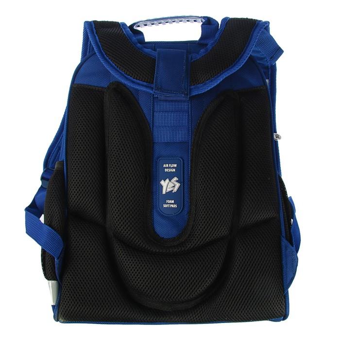 Рюкзак каркасный YES H-12 38 х 29 х 15 см, для мальчика, Oxford, синий