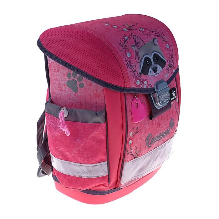 Ранец на замке Belmil Classy, 36 х 32 х 19 см, для девочки, Racoon, розовый