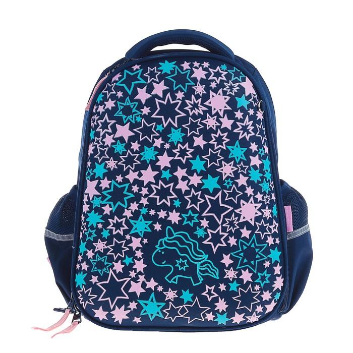 Рюкзак каркасный Bruno Visconti 38 х 30 х 20 см, «Единороги. Праздник», синий