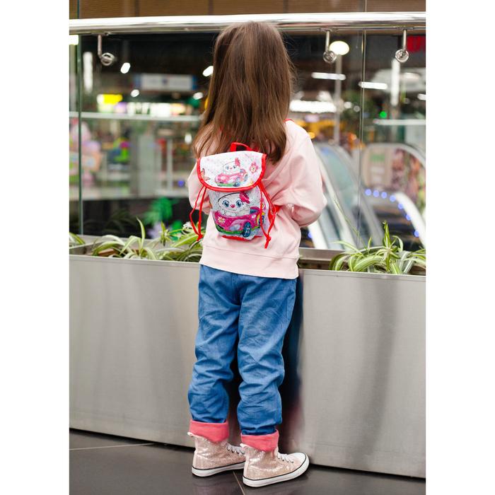 Рюкзак детский, отдел на шнурке, цвет красный