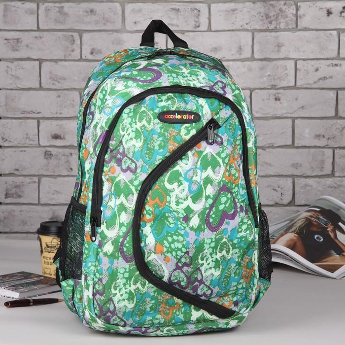 Рюкзак школьный, отдел на молнии, 2 наружных кармана, 2 боковых сетки, цвет зелёный