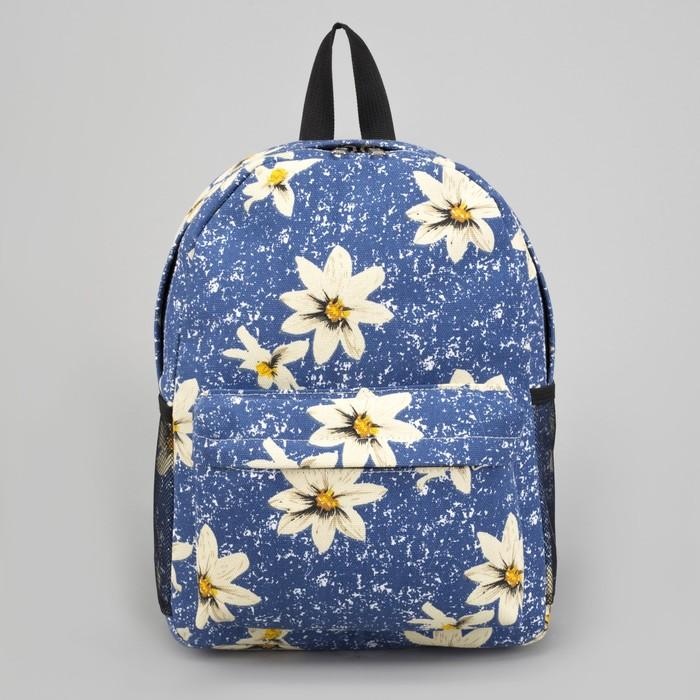 Рюкзак молодёжный, отдел на молнии, наружный карман, 2 боковые сетки, цвет голубой