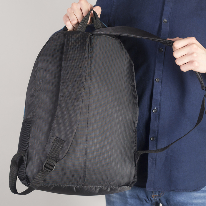 Рюкзак молодёжный, 2 отдела на молниях, наружный карман, 2 боковые сетки, усиленная спинка, цвет чёрный/синий