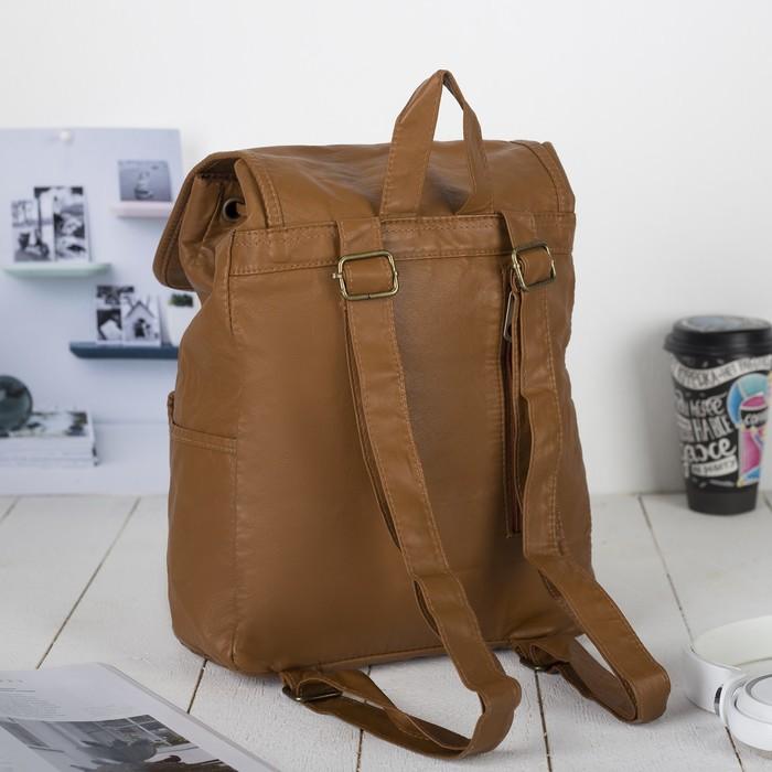Рюкзак молодёжный, отдел на шнурке, 2 наружных кармана, 2 боковых кармана, цвет коричневый
