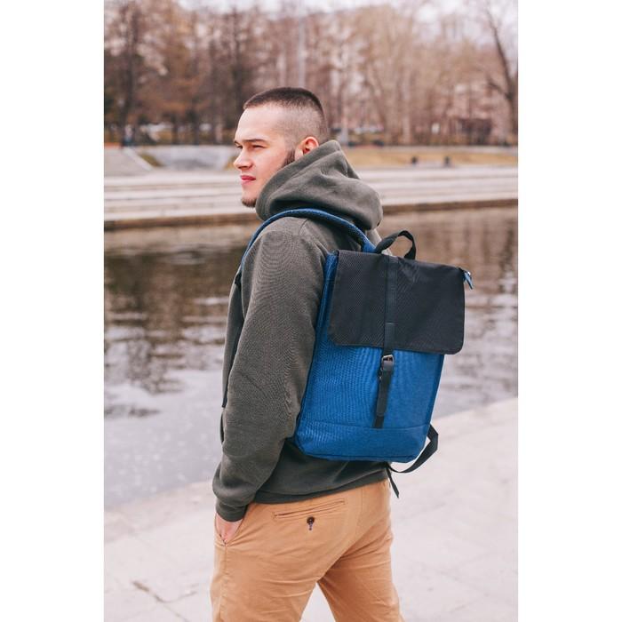 Рюкзак молодёжный, отдел на молнии, наружный карман, цвет синий/чёрный