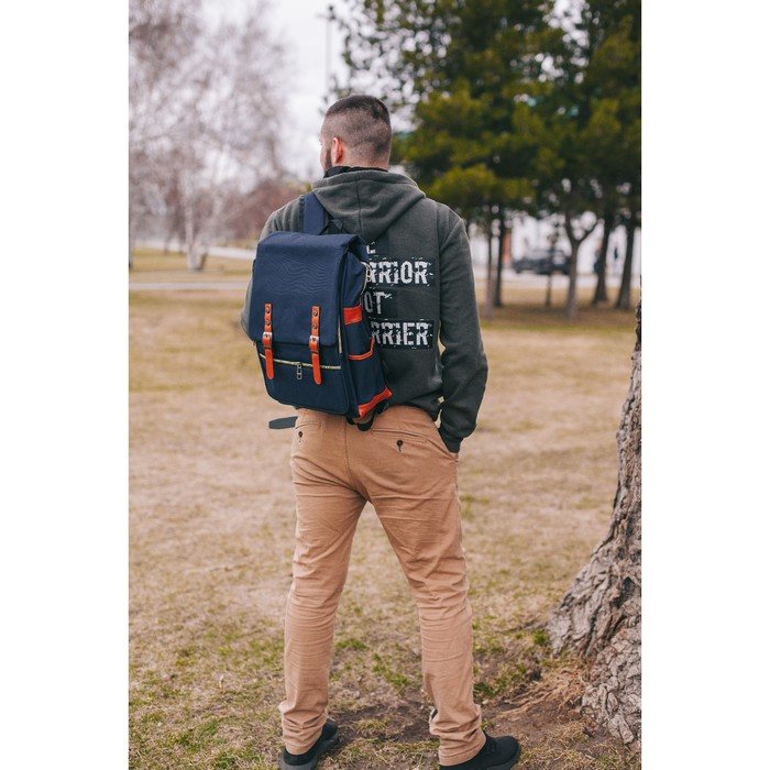 Рюкзак молодёжный, классический, отдел на молнии, 4 наружных кармана, цвет синий