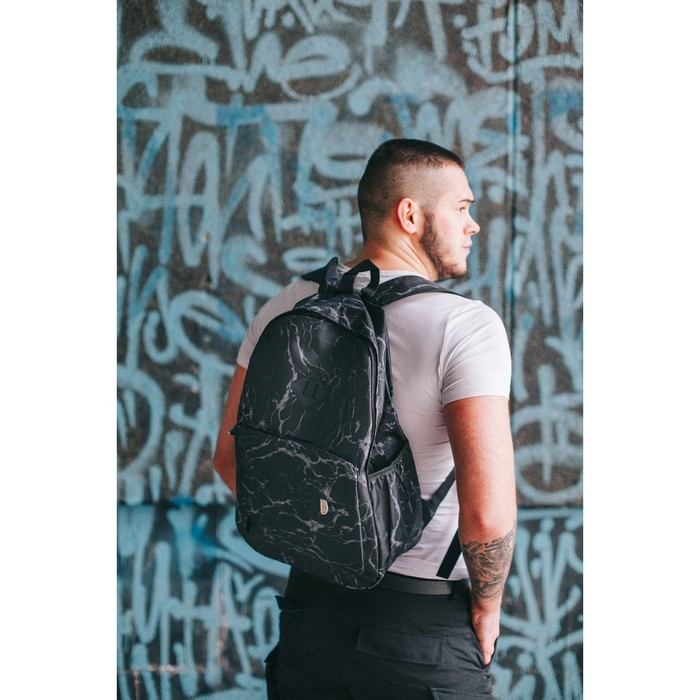 Рюкзак молодёжный, отдел на молнии, 3 наружных кармана, цвет чёрный/серый