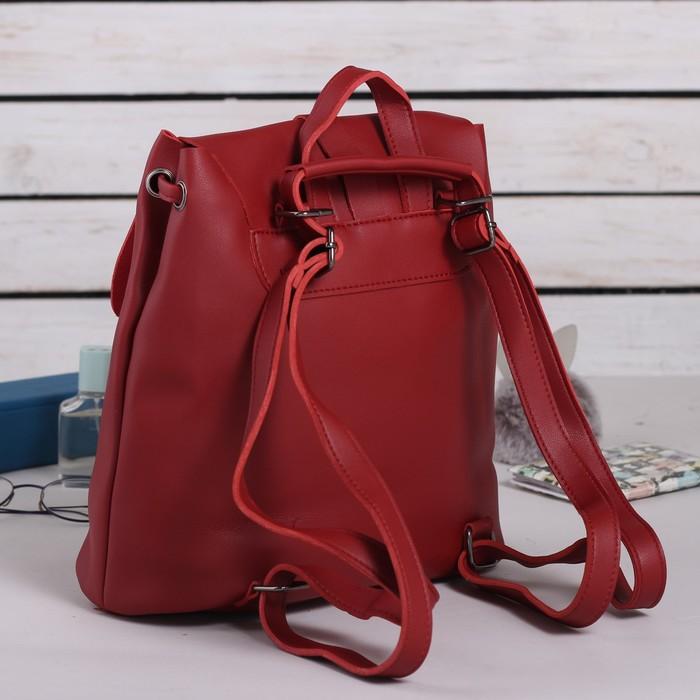 Рюкзак молодёжный, отдел на шнурке, цвет бордовый