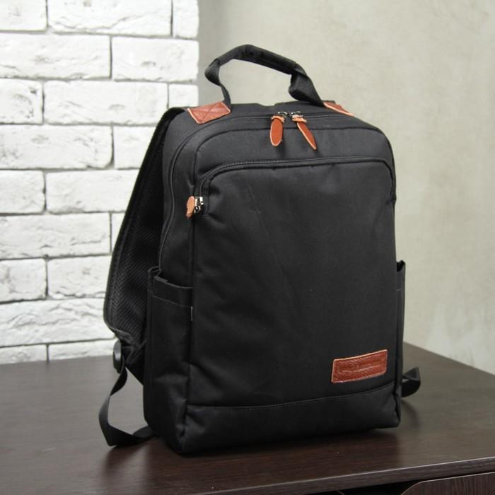 Рюкзак молодёжный, отдел на молнии, наружный карман, цвет чёрный/рыжий
