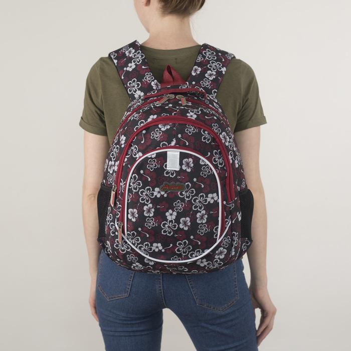 Рюкзак школьный, 2 отдела на молниях, наружный карман, 2 боковых кармана, цвет чёрный/розовый/белый