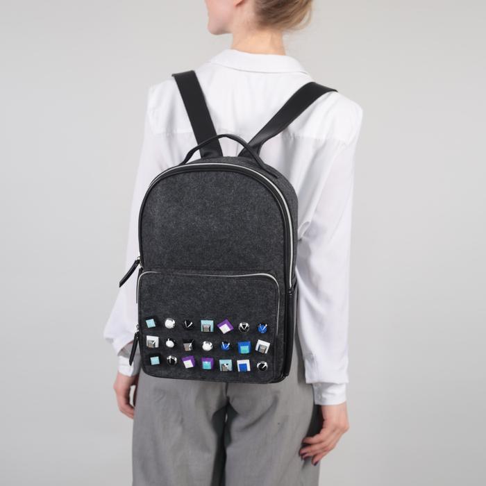 Рюкзак молодёжный, отдел на молнии, наружный карман, цвет тёмно-серый