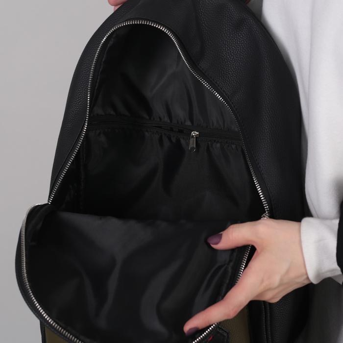 Рюкзак молодёжный, отдел на молнии, наружный карман, цвет чёрный/синий