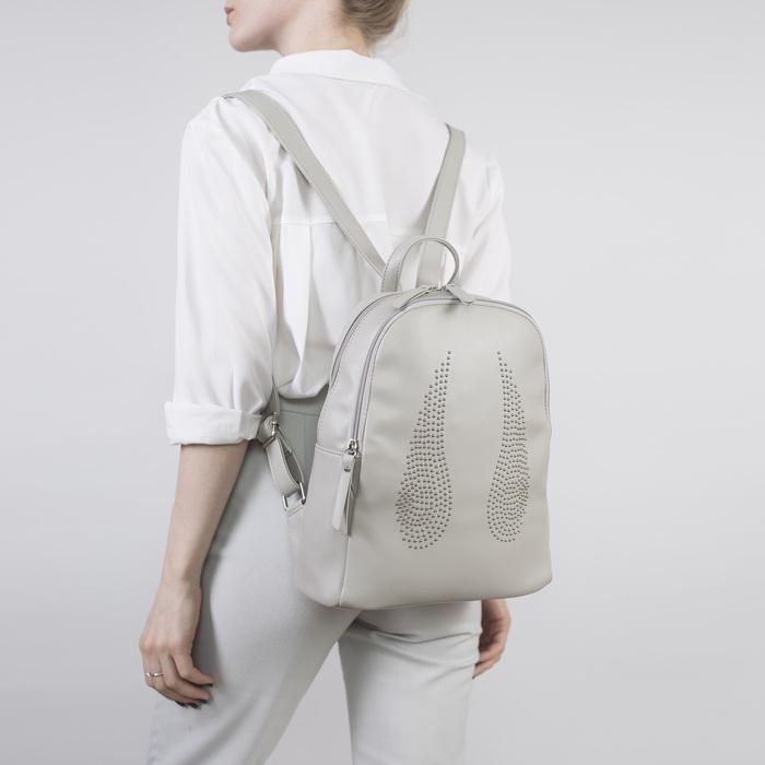 Рюкзак молодёжный, отдел на молнии, наружный карман, цвет серый