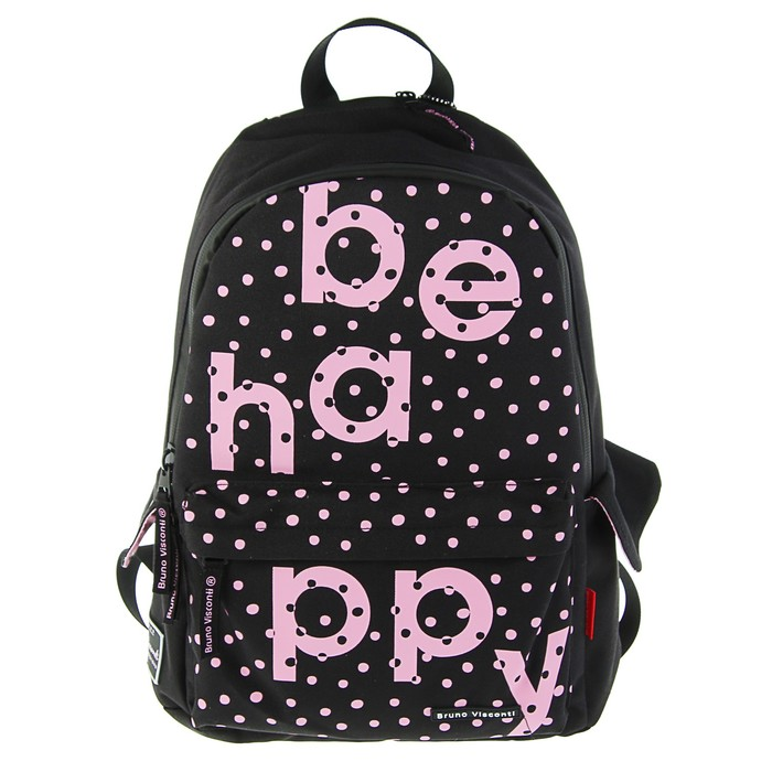 Рюкзак молодёжный Bruno Visconti 40 х 30 х 17 см, Be happy, чёрный