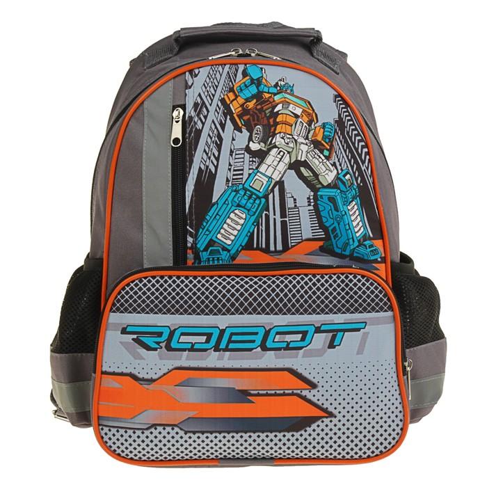 Рюкзак школьный с эргономической спинкой Luris Степашка 37x26x13 см для мальчика, «Робот»