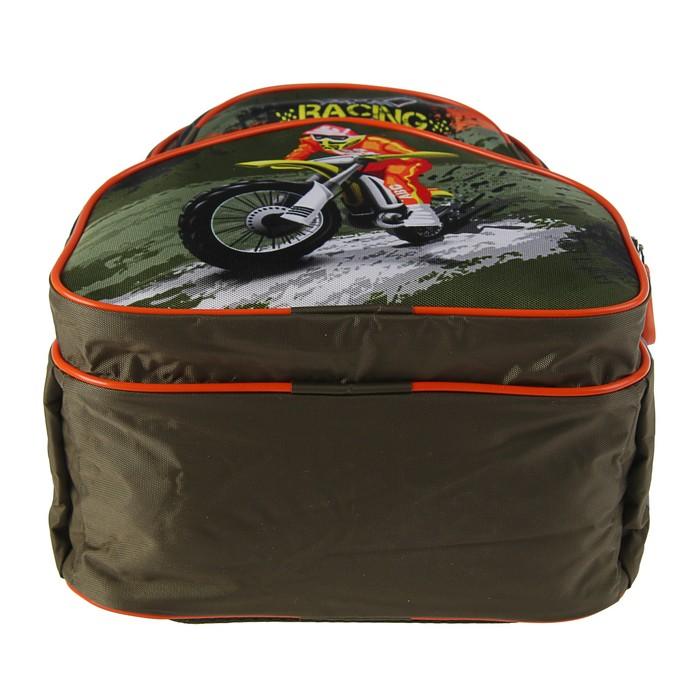 Рюкзак школьный с эргономической спинкой Luris Антошка 37x26x13 см для мальчика, «Мото»