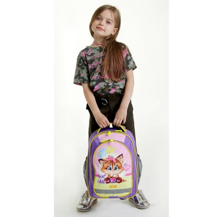 Рюкзак школьный с эргономической спинкой Calligrata Бонус 37x27x16 см для девочки, «Кошечка»