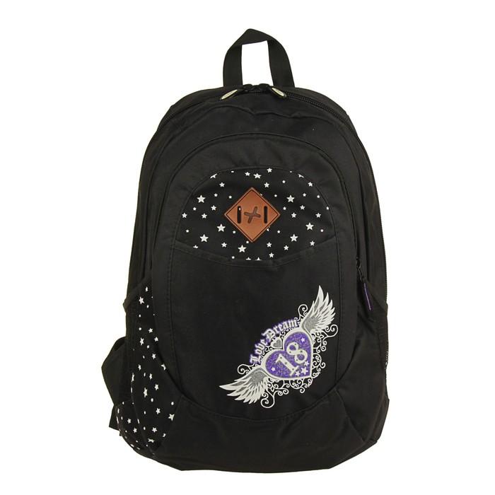 Рюкзак молодёжный Stavia 44 х 30 х 17 см, эргономичная спинка, «Юность», чёрный/лиловый