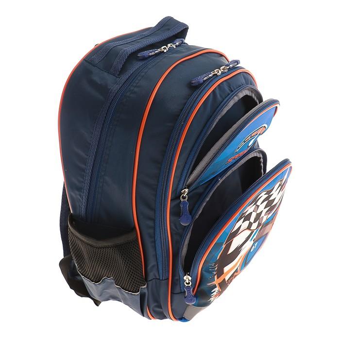Рюкзак школьный с эргономической спинкой Luris Пиноккио 36x23x13 см для мальчика, «Автогонка»