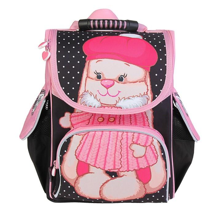 Ранец Jack&Lin, 33 х 25 х 14 см, для девочки «Зайка Лин в шубке», розовый/чёрный