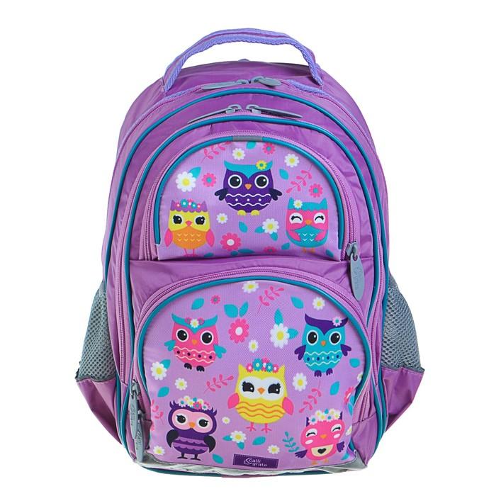 Рюкзак школьный с эргономической спинкой Calligrata Пиноккио 36x23x13 см для девочки, «Совушка»