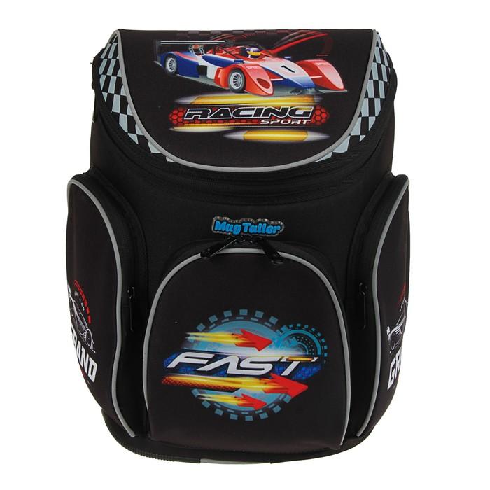 Ранец на молнии Mag Taller Boxi, 38 х 29 х 19 см, для мальчика, Racing, чёрный