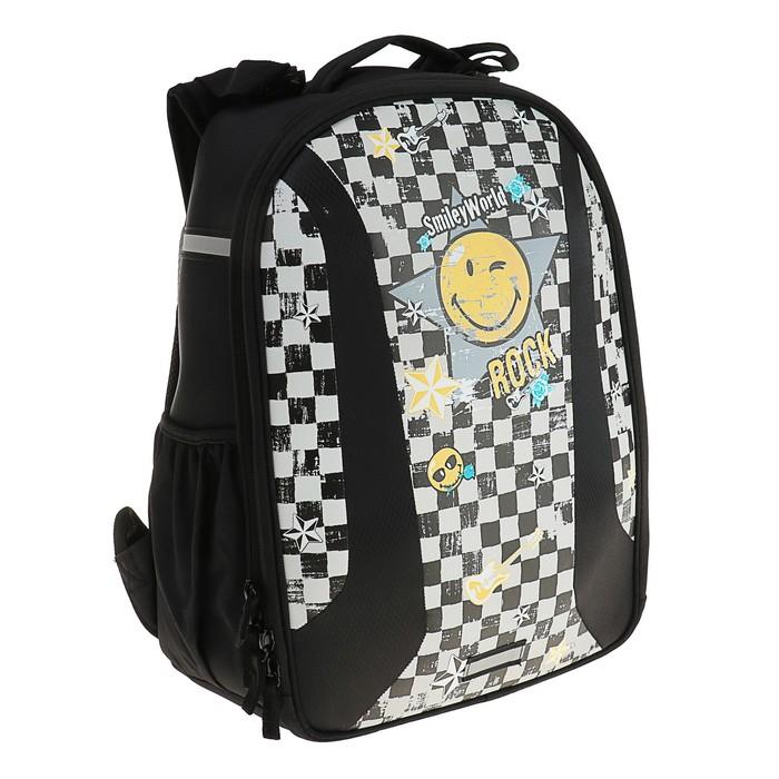 Рюкзак каркасный Herlitz Airgo 43х32х18 см, для девочек, SmileyWorld Rock, чёрный/белый/жёлтый