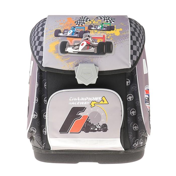 Ранец на замке Mag Taller Ezzy II, 38*32*23 для мальчика, RACEWAY, серый/чёрный