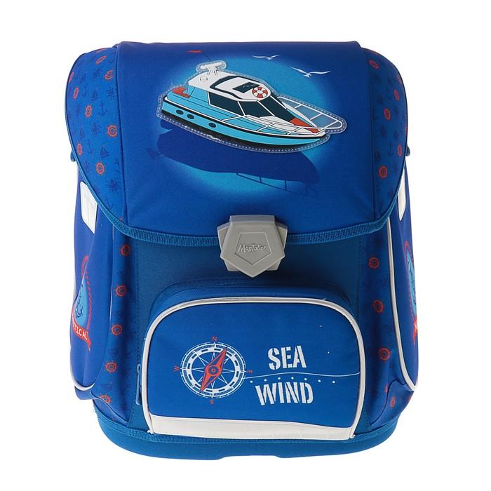 Ранец на замке Mag Taller Ezzy II, 38*32*23 для мальчика, Sea Wind, синий