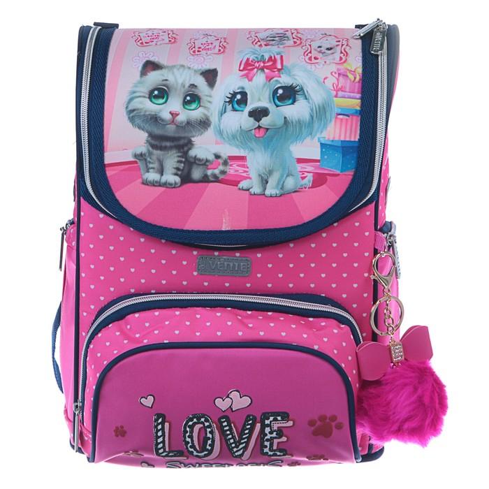 Ранец «Стандарт» deVENTE Mini, 35 х 26 х 20, для девочки, Sweet Pets, розовый