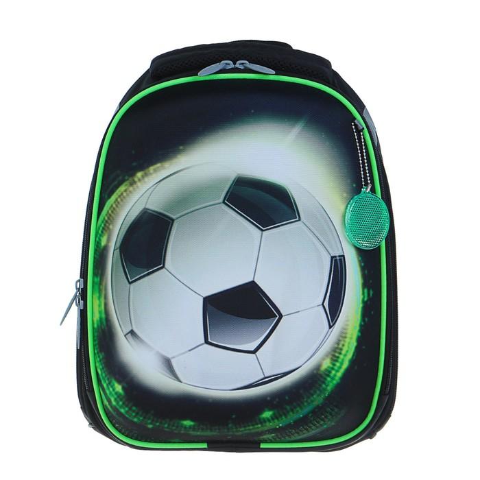 Рюкзак каркасный Calligrata Колибри, 37 x 28 x 19 см, для мальчика, «Улётный футбол», чёрный