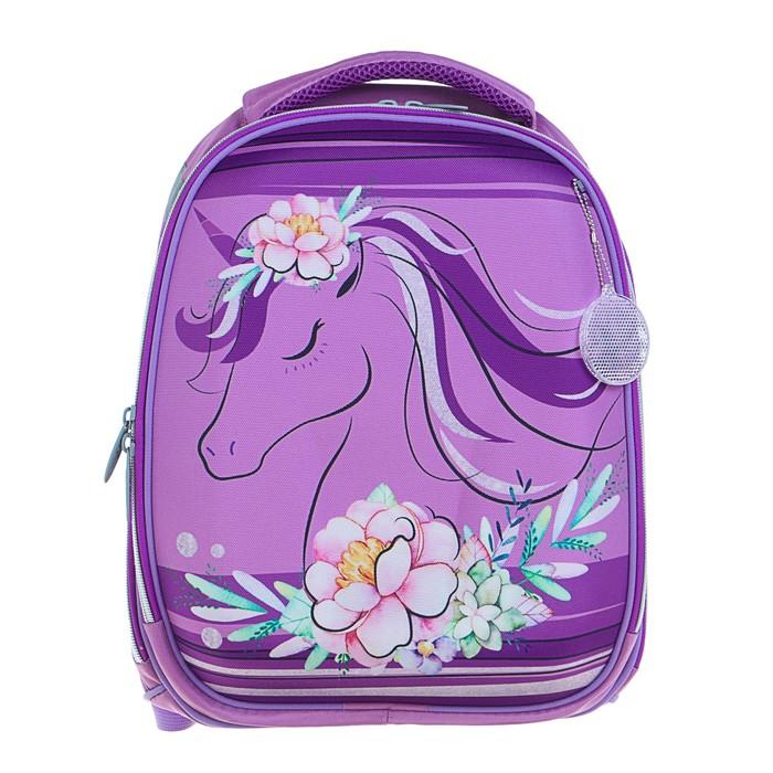Рюкзак каркасный Calligrata Колибри, 37 x 28 x 19 см, для девочки, «Цветочный единорог», сиреневый