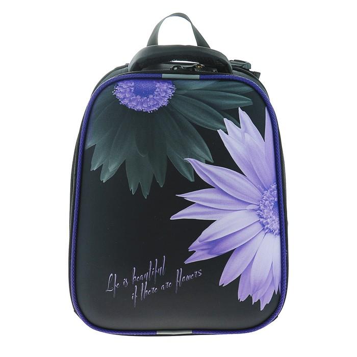 Рюкзак каркасный Stavia 38 х 30 х 16 см, эргономичная спинка, для девочки, «Цветок», чёрный