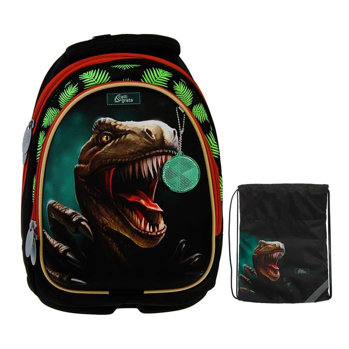 Рюкзак каркасный Calligrata Пони, 39 х 28 х 18 см, мешок для обуви, для мальчика, «Крутой дино», зелёный