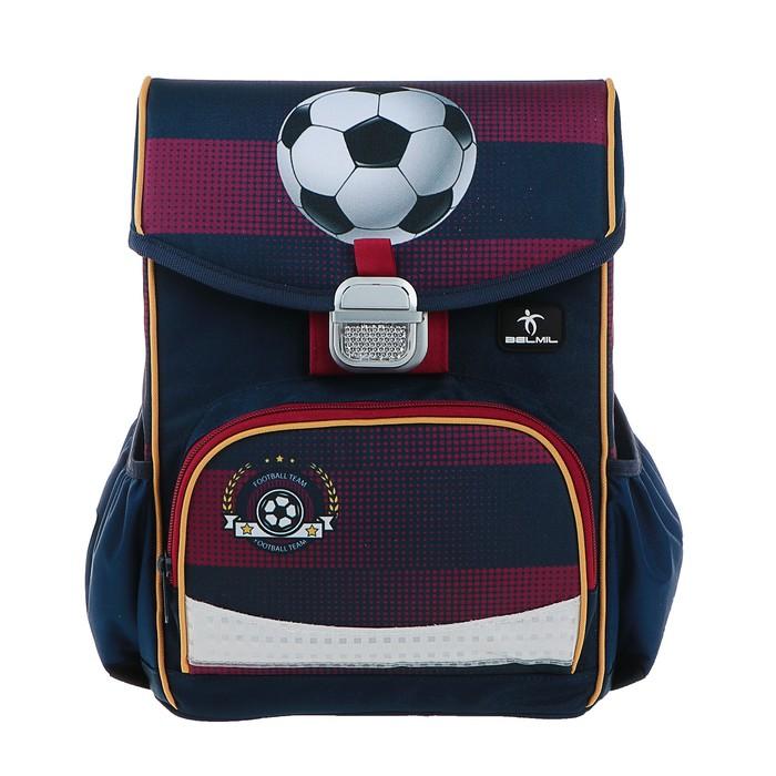 Ранец на замке Belmil Click, 35 х 26 х 17 см, для мальчика, Football Club, синий/красный