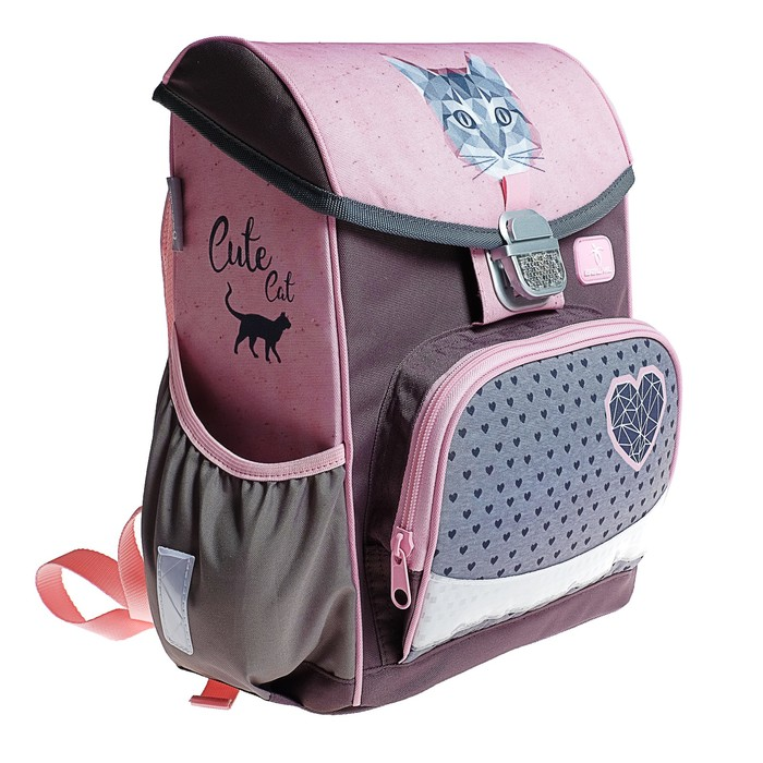 Ранец на замке Belmil Click, 35 х 26 х 17 см, для девочки, Cute Cat, серый/розовый