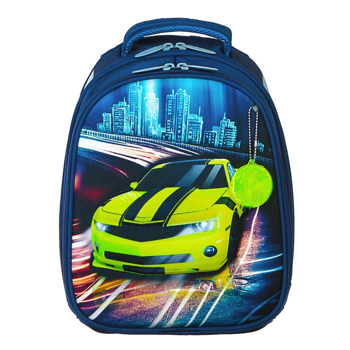 Рюкзак каркасный Calligrata Томас 3D, 38 x 30 x 16 см, для мальчика, «Тачка с городом», синий