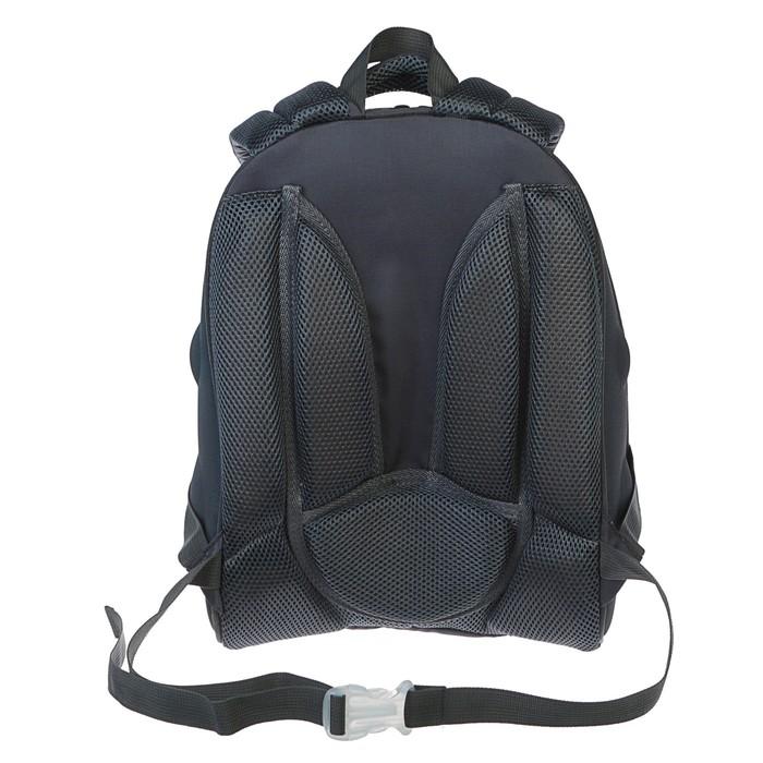 Рюкзак каркасный Calligrata Томас 3D, 38 x 30 x 16 см, для мальчика, «Крутой мото», чёрный