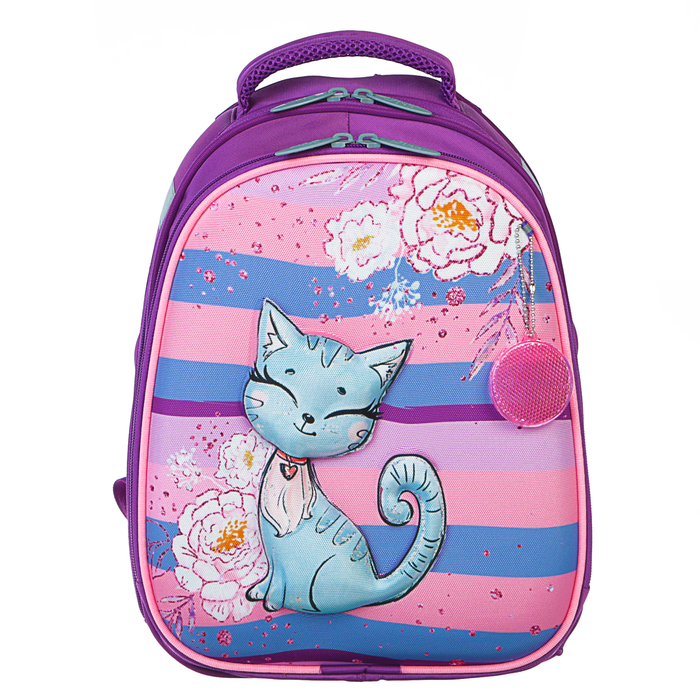 Рюкзак каркасный Calligrata Томас 3D, 38 x 30 x 16 см, для девочки, «Котёнок с блёстками», сиреневый