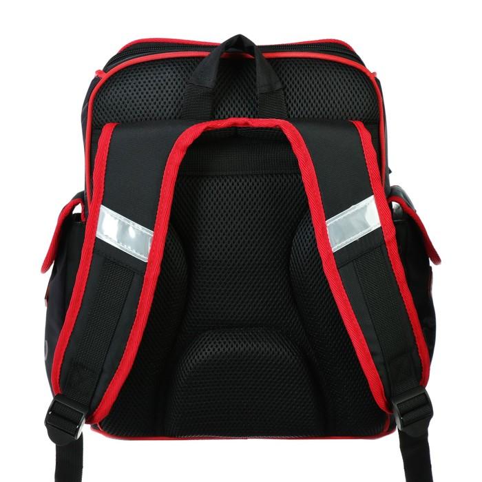 Ранец на молнии Hatber Comfort school, 35 х 28 х 15 см, для мальчика, Moto-beast, чёрный/красный