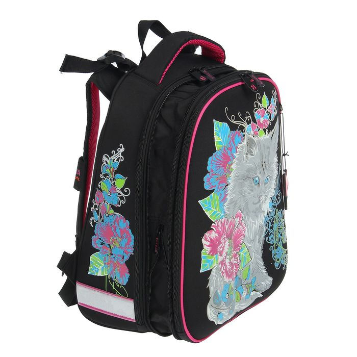 Рюкзак каркасный Stavia 36 х 28 х 16 см, эргономичная спинка, для девочки, «Кошка-2», чёрный