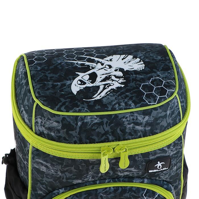 Ранец на молнии Belmil Zero-G, 38 х 28 х 18 см, для мальчика, Dinosaur Triceratops, серый