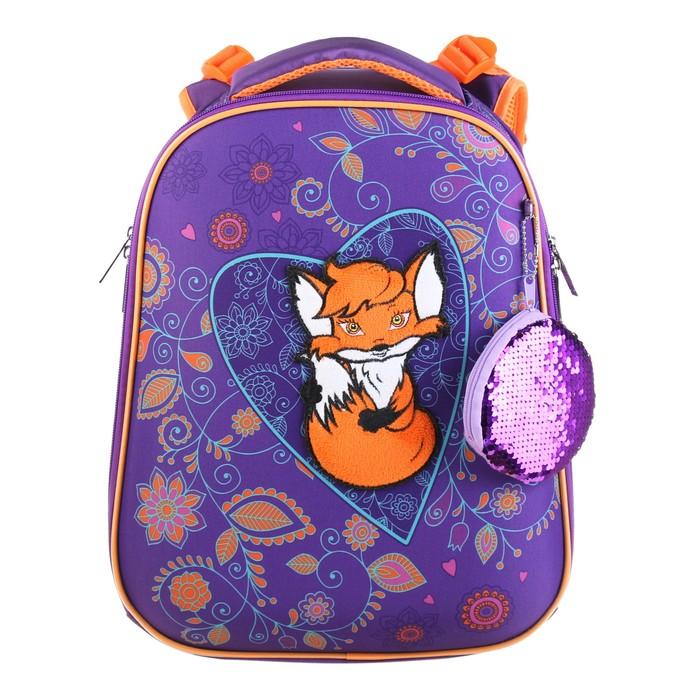 Рюкзак каркасный Hatber Ergonomic 37 х 29 х 17 см, для девочки, «Лисичка», фиолетовый/оранжевый