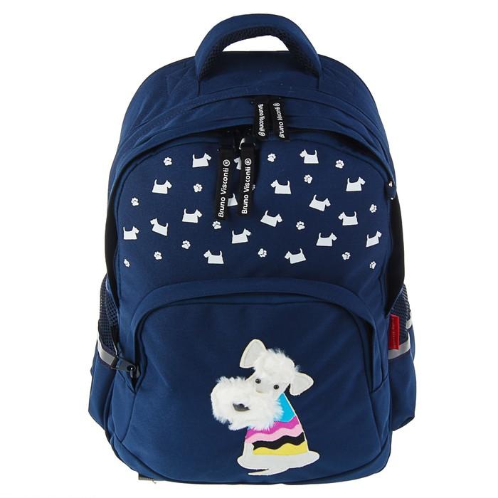 Рюкзак школьный Bruno Visconti, 40 х 30 х 16 см, эргономичная спинка, «Щеночек», синий